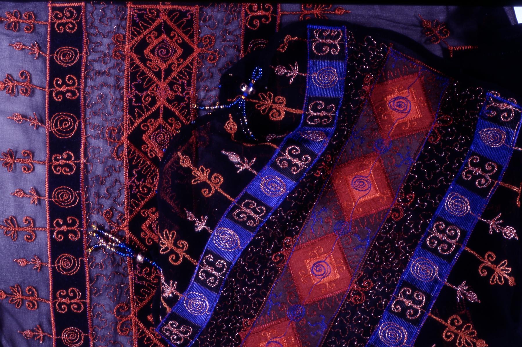 machine embroidered edge of chiffon scarf